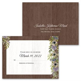 Floral Garland - Invitation with Free Response Postcard