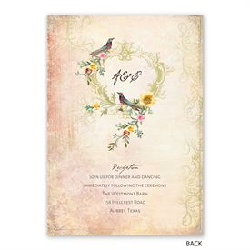 Vintage Birds  - Invitation with Free Response Postcard