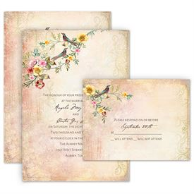 Wedding Invitation Packages.Vintage Birds Invitation With Free Response Postcard