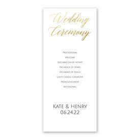 Gold Faux Foil Wedding Program