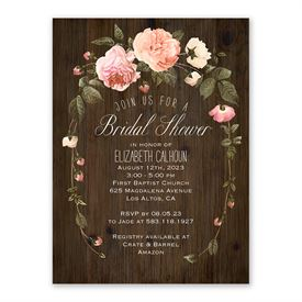 ff9be32fa9f5 Cheap Bridal Shower Invitations  Country Blooms Bridal Shower Invitation