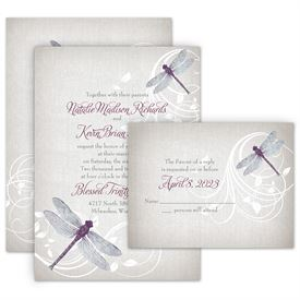 Wedding Invitations: Dragonfly Pair Invitation with Free Response Postcard
