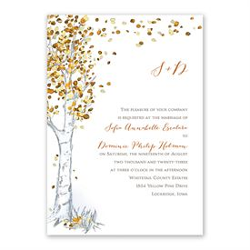Autumn Birch Invitation with Free Response Postcard