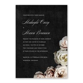Dark Floral Invitation with Free Response Postcard