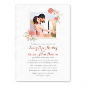 Pretty Posies Invitation with Free Response Postcard