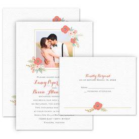 Photo Wedding Invitations: Pretty Posies Invitation with Free Response Postcard