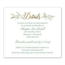 Wedding Reception Cards: Greens and Gold - Information Card