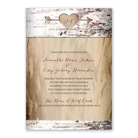 Carved Birch - Invitation with Free Response Postcard