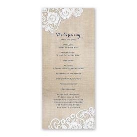 Burlap and Lace Frame Wedding Program