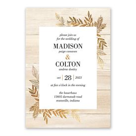 Leaves of Gold Invitation with Free Response Postcard