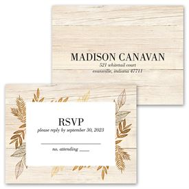 Leaves of Gold - Invitation with Free Response Postcard