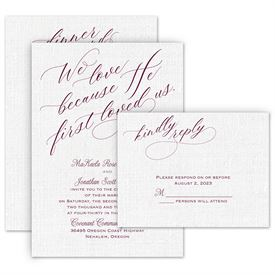 Wedding Invites Free Respond Cards: We Love Because Invitation with Free Response Postcard