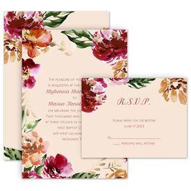 Wedding Invitations: Autumn Blooms Invitation with Free Response Postcard