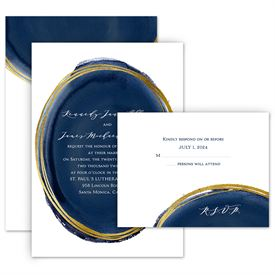 Elegant Wedding Invitations: Gilded Watercolor - Invitation with Free Response Postcard