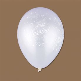 Wedding Balloons: Just Married White Pearl Balloon