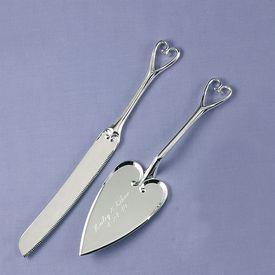 Wedding Cake Knife and Server Sets: Heart Handled Serving Set