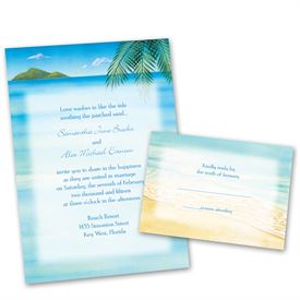 Destination wedding invitations anns bridal bargains destination wedding invitations ocean view invitation with free response card stopboris Gallery