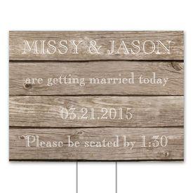 Wedding Yard Signs: Wood Grain Yard Sign