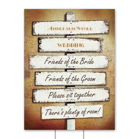 Wedding Yard Signs: Rustic Fence Yard Sign