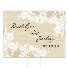 Ceremony Accessories: Burlap and Lace Yard Sign