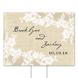 Wedding Yard Signs: Burlap and Lace Yard Sign