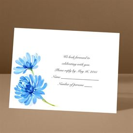 Watercolor Peony - Blue - Response Card and Envelope