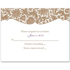 Lace Trim - Response Card and Envelope