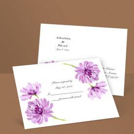 Watercolor Peony - Amethyst - Response Postcard