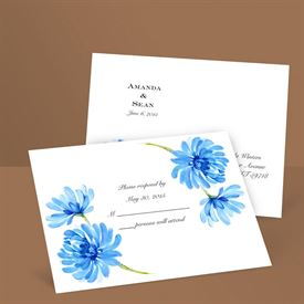 Watercolor Peony - Blue - Response Postcard