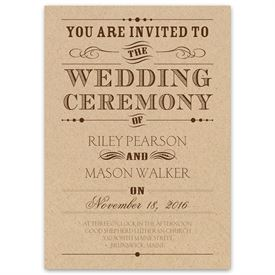 vintage wedding invitations typography on kraft invitation - Wedding Invitations Vintage