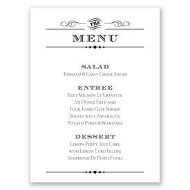 Wedding Menu Cards Typography On White Card