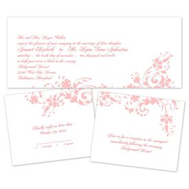 Floral Damask - Separate and Send Invitation