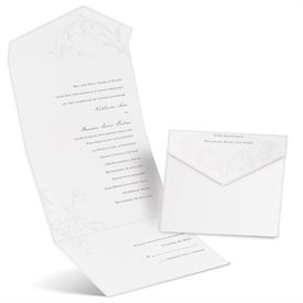Pearl Flourish - White - Seal and Send Invitation