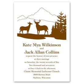 Rustic Wedding Invitations: Deer Silhouettes Invitation