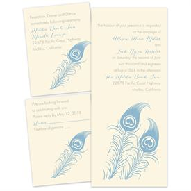 Love for Feathers - Ecru - Separate and Send Invitation