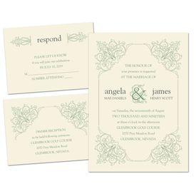 Vintage Wedding Invitations: Ornate Details Separate and Send Invitation