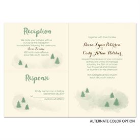 Peaceful Pines - Ecru - Separate and Send Invitation