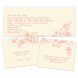 Floral Damask - Ecru - Separate and Send Invitation