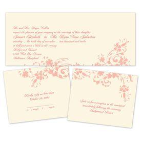 Floral Damask - Ecru - Separate and Send Invitation