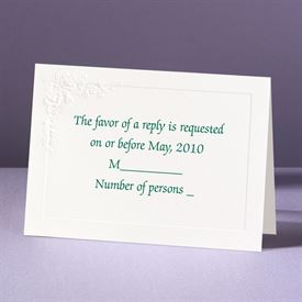 Embossed Floral in White - Response Card and Envelope