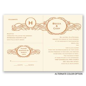 Initial Charm - Ecru - Separate and Send Invitation