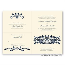 Victorian Damask - Ecru - Separate and Send Invitation