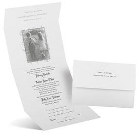 Silver Wedding Invitations: Romantic Surprise Seal and Send Invitation