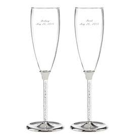 Wedding Toasting Flutes: Glittering Beads Toasting Flutes