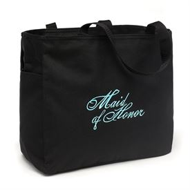 View All Wedding Gifts: Black and Aqua Maid of Honor Tote Bag