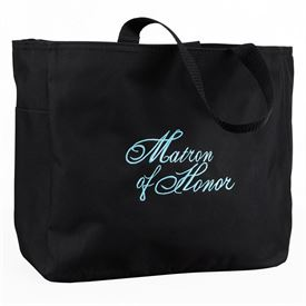 Black and Aqua Matron of Honor Tote Bag