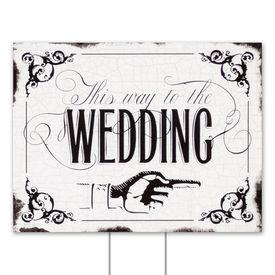 Wedding Yard Signs: Black Wedding Direction Yard Sign
