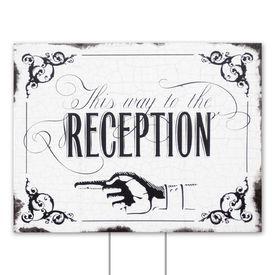 Wedding Yard Signs: Black Reception Direction Yard Sign
