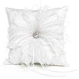 Wedding Ring Bearer Pillows & More: White Feathered Fantasy Ring Pillow