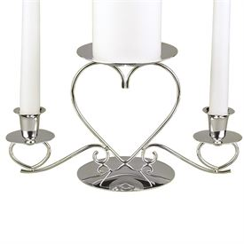Wedding Unity Candles: Silver Triple Heart Candle Stand